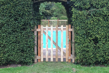 Back garden custom built wooden gate